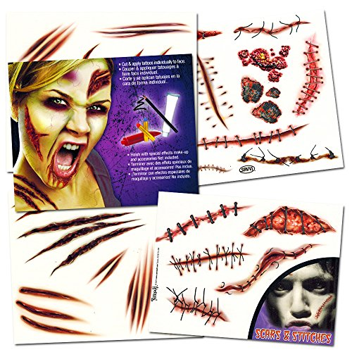 [Zombie Temporary Tattoos Party Supplies Pack (6 Sheets -- Over 60 Wound Tattoos Total)] (Zombie Halloween Costume Makeup)