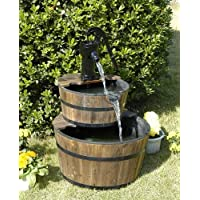 Wood Barrel with Pump Outdoor Water Fountain - Large Garden Water Fountain Product SKU: PL50001