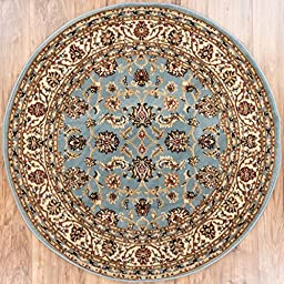Noble Sarouk Light Blue Persian Floral Oriental Formal Traditional 5 Round (5\'3\
