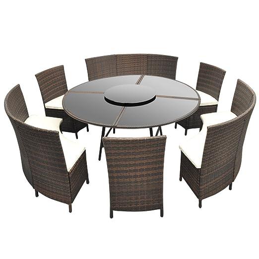 vidaXL Poly Rattan Sitzgruppe Essgruppe Gartenset Gartenmöbel Tisch rund 12 Personen