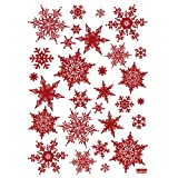 Intricate Red Glitter Snowflake - Removable Home Decoration Wall Sticker Decal