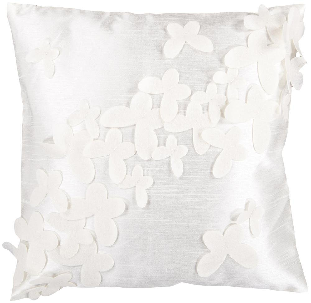 Candice Olson by Surya HCO-600 Machine Made 100% Polyester Winter White 18 x 18 Decorative Pillow