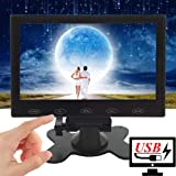CAIRUTE 7 Inch Ultra-Thin High-Res 1024x600 HD Raspberry Pi 3 Monitor, AV/RCA/VGA/BNC/HDMI, Portable USB Power TFT LCD Computer for PC Laptop, CCTV Video Display Screen, Built in Speaker, Touch Button (Color: Black)