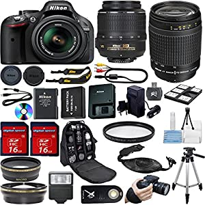 Nikon D5200 DSLR Camera with 18-55mm f/3.5-5.6 AF-S VR Nikkor Zoom Lens + Nikon 70-300mm G Zoom Lens + .43x Wide Angle Lens + 2.2x Telephoto Lens + High Definition U.V. Filter + 50