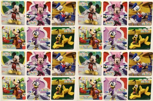 "MICKEY MOUSE CLUBHOUSE STICKERS - Mickey Mouse Clubhouse Birthday Party Favor Sticker Set Consisting of 45 Stickers Featuring 6 Different Designs Measuring 2.5"" Per Sticker Featuring Mickey Mouse, Minnie Mouse, Donald Duck, Daisy Duck, Goofy and Pluto"