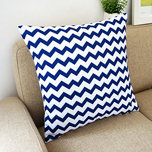 White Square Throw Pillows : Blue and White Howarmer Square Cotton Canvas Decorative Throw Pillows Cover Set of 4 Accent ...