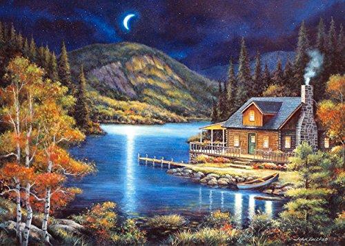 Puzzle 1000 Teile - Haus bei Mondschein im Herbst - großes Cottage Landschaft - Indian Summer - Wald See am Fluß - Zeichnung / gemalt Nachts bei Mond