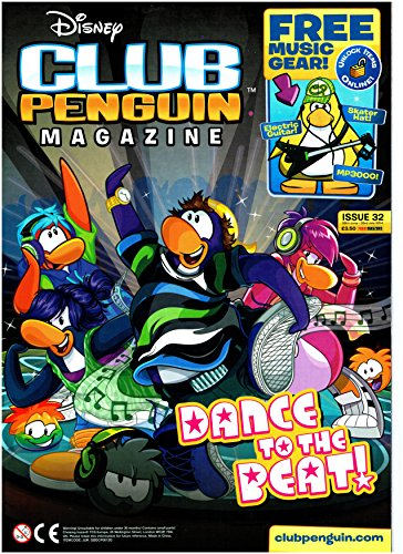 Club Penguin Magazine Issue 32 = Free Rare Ice Hockey Game + Black Electric Guitar + Green Skater Hat + Dubstep Puffle + Codes + 32 Pgs Of Disney Fun And Puzzles - Limited Supply - Dance To The Beat Issue