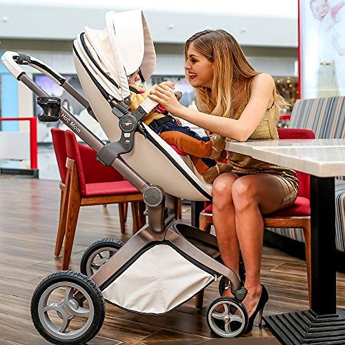 Hot Mom Kombikinderwagen und Buggy Sportwagen 3-in-1 Travelsystem 2016 Fashion mit Kinderwagenaufsatz,weiß (Pink) -