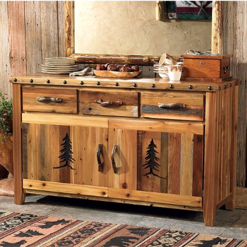 Buy low price black forest decor barnwood buffet w tree for Barnwood decor