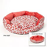 """Luxor Linens Soft and Comfortable Vetri Reversible Pet Bed - Plush & Cozy Perfect for Large or Small Animals - 3 Sizes & 15 Styles Available - Medium (22"""" x 20"""") - Paw Red"""