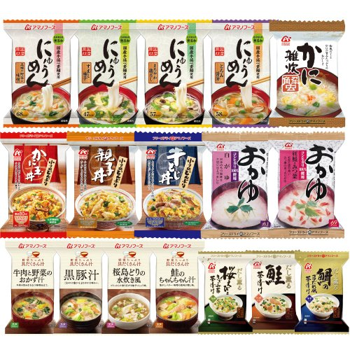 Amano foods freeze-dried Japanese 17 food set (miso soup 4 / 4 noodles in hot soup boiled rice with 3 small bowl 3 / porridge one / porridge 2 species)