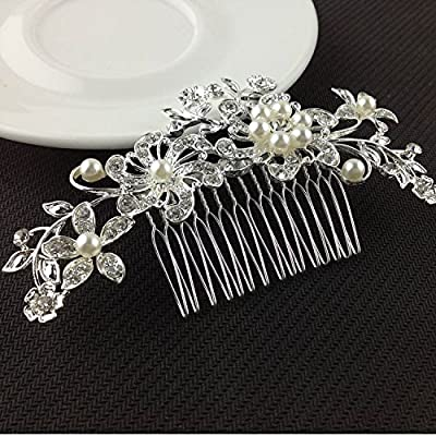 Geoot Bridal Wedding Jewelry Crystal Rhinestone Pearl Flowers Hair Comb Pin