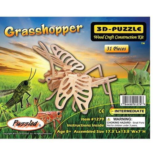 Puzzled Grasshopper 3D Natural Wood Puzzle (31 Piece) - 1