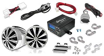 Lanzar OPTIMC80 Paire d'enceintes avec Amplificateur pour Moto/Scooter/Vélo/Motoneige 700 W 4 voies Entrées 3,5 mm/SD/USB Argent