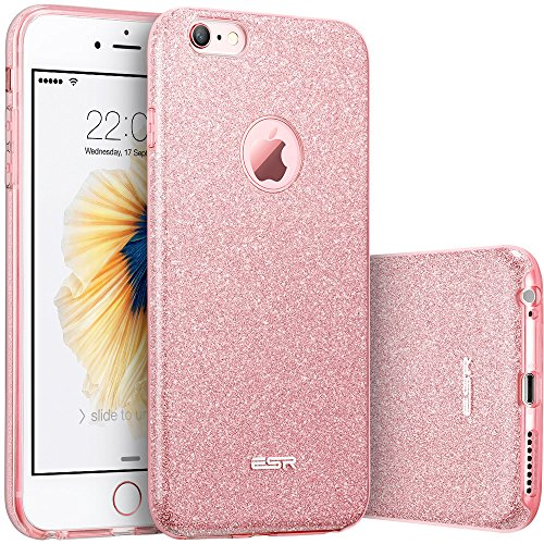 iPhone 6s Plus / 6 Plus Case, ESR iPhone 6 Makeup Series Back Cover Shinning Protective Bumper Bling Glitter Case for 5.5 inches iPhone 6s Plus and iPhone 6 Plus (Rose Gold) (Electronics I Phone 6 Plus Cases compare prices)