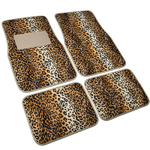 bdk carpeted 4 piece mat leopard animal print auto car vehicle universal fit beige vehicles. Black Bedroom Furniture Sets. Home Design Ideas