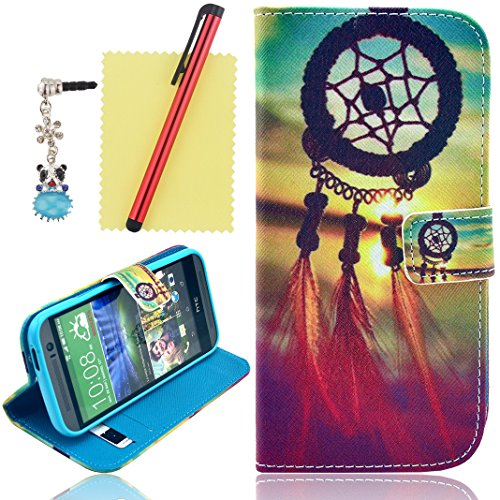 Ancerson Hot Sale Colorful Stylish Printed Magnet Buckle Built-In Credit/ Id Card Wallet Slots Ultra Slim Pu Leather Protective Flip Folio Stand Case Fit For Htc One M8 (Model 2014) Free With A Red Stylus Touchscreen Pen, A 3.5Mm Universal Crystal Diamond