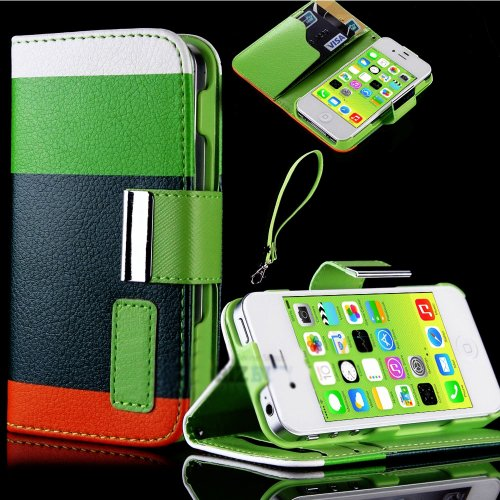 Mylife Nature Color Block Design - Textured Koskin Faux Leather (Card And Id Holder + Magnetic Detachable Closing) Slim Wallet For Iphone 5/5S (5G) 5Th Generation Itouch Smartphone By Apple (External Rugged Synthetic Leather With Magnetic Clip + Internal