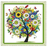 Anself DIY Handmade Needlework Counted Cross Stitch Set Embroidery Kit 14CT Colorful Tree Pattern Cross Stitching Home Decoration 38 38cm
