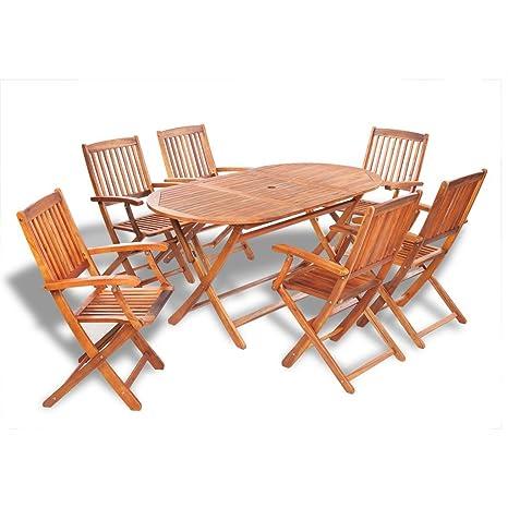 vidaXL Conjunto muebles de madera 6 sillas y mesa ovalada