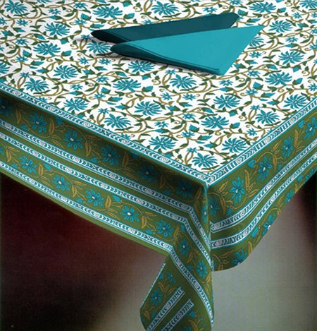 New Table Cover 55 By 55 Inches Mughal Jaal Blue Cotton Table Cloth Table Linen