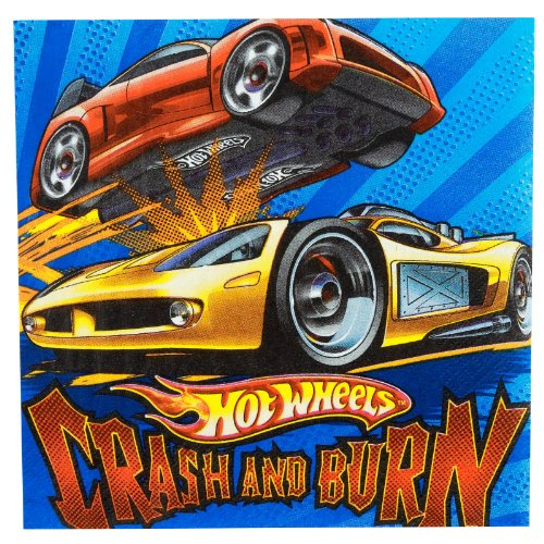 "Amscan Hot Wheels Speed City 6-1/2"" x 6-1/2"" Luncheon Napkins, 16-Count"