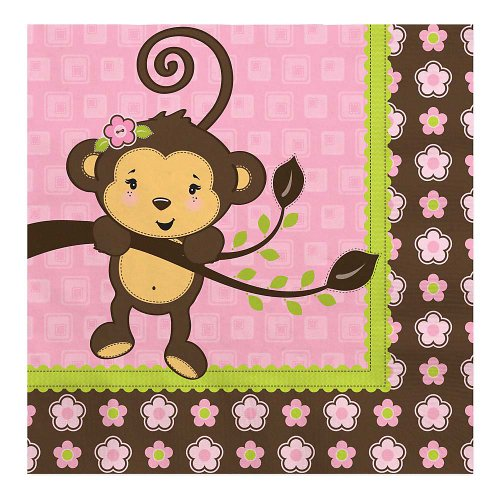 Monkey Girl - Baby Shower Luncheon Napkins - 16 Ct front-725518