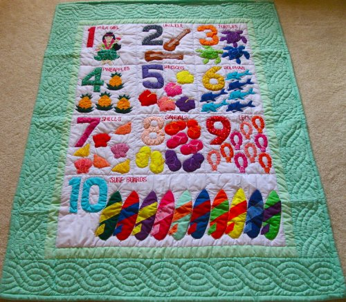 Hawaiian Style Numbers Crib Baby Comforter Blanket, Wall Hanging Hand Quilted/Hand Appliqued And Machine Embroidered front-66114