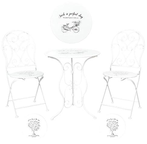 Clayre & Eef 5y0192giardino tavolo sedie da giardino tavolo con due sedie Bianco piano del tavolo: Bicicletta Seduta: Albero ca. Ø 60x 70cm/2X Ø 40x 40x 92cm
