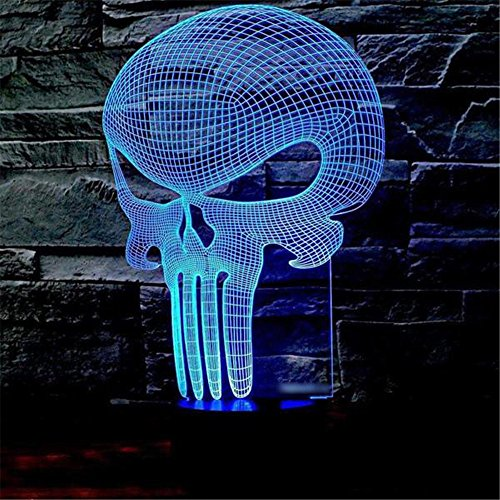 Skull 3D Illusion Night Light, 7 Color Changing