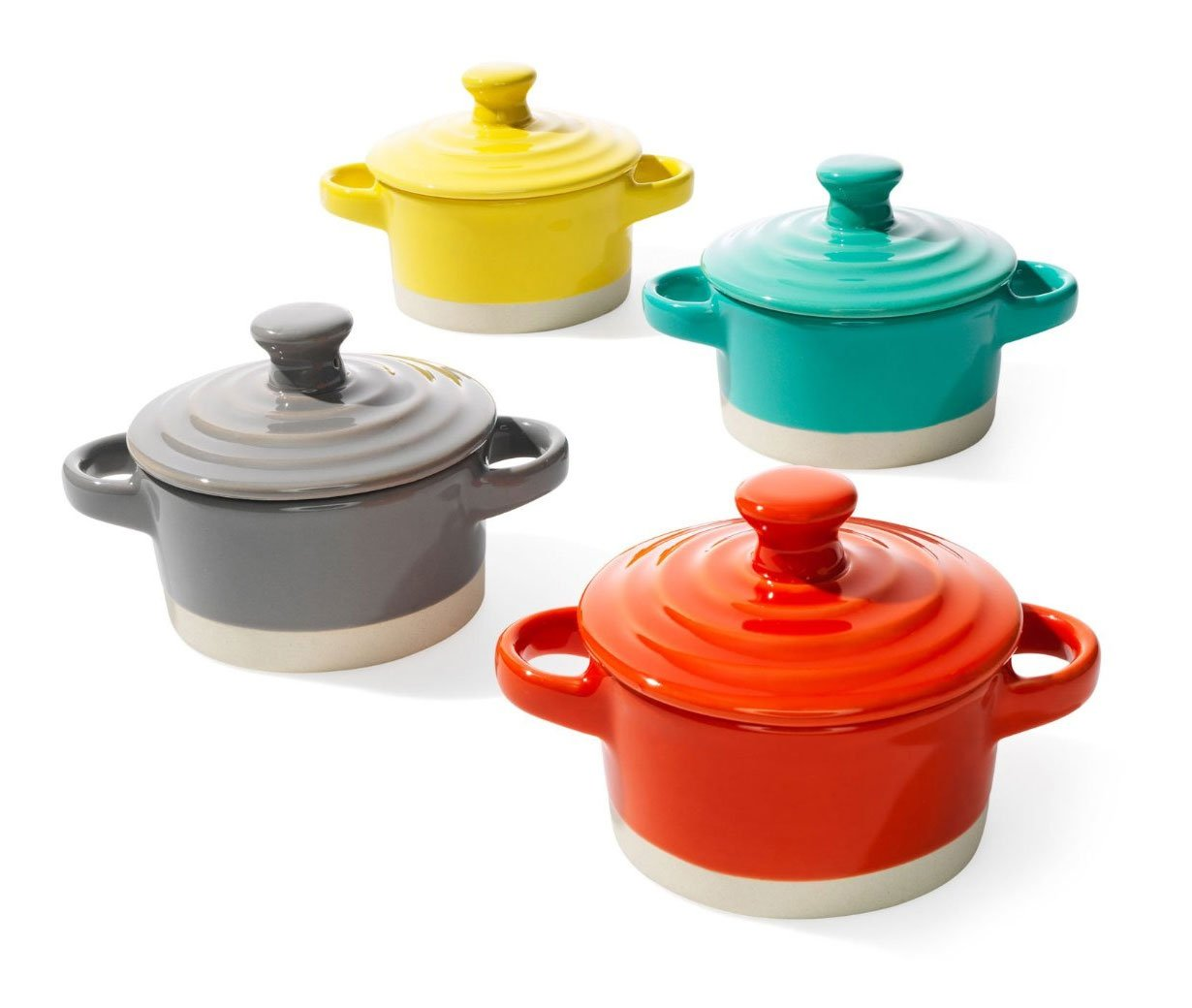 "3-1/4"" Round Stoneware Mini Baker w/ Lid, 4 Colors"