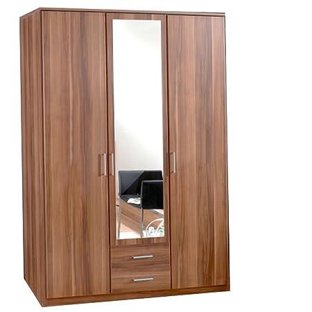 German Omega Walnut 3 Door Mirror Door Wardrobe