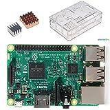 RPi3 本体+ケース+ヒートシンク セット Raspberry Pi 3 Model B+ヒートシンク銅の一つアルミの一つ+クリアケース 3in1キット (透明ケース) ランキングお取り寄せ