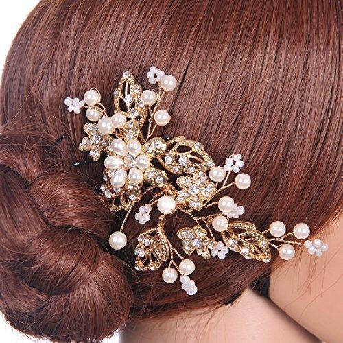 Topwedding Remedios Gold Wedding Headpiece Bridal Comb Crystal Hair Accessory