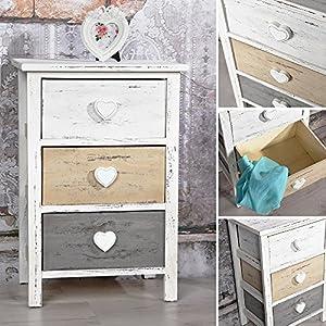 kommode shabby schrank mit 3 schubladen herz deko wei grau braun used look holz. Black Bedroom Furniture Sets. Home Design Ideas