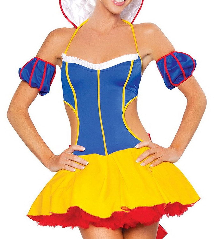 Bigood Bandeau Stil Schneewittchen Cosplay Kostüm Rollenspiel Kostüm Blau-gelb jetzt kaufen