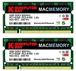 Komputerbay MACMEMORY 6GB Kit (4GB + 2GB Modules) PC2-6300 800MHz DDR2 SODIMM for Apple iMac 20\