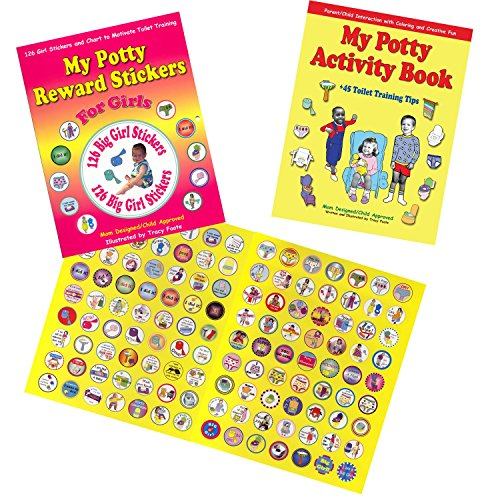 Potty Training Chart Kit: Best Girl Reward Stickers, Chart, Coloring Activity Book, plus 45 Toilet Training Tips for Toddler Positive Reinforcement