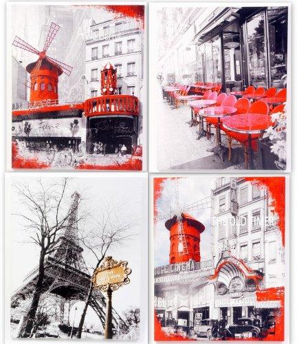 cadres lot 4 cadres toile tableau paris tour eiffel moulin rouge 40x50cm. Black Bedroom Furniture Sets. Home Design Ideas