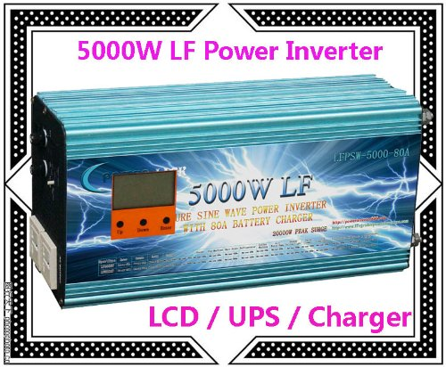 "5000 Watt Continual 20000 Watt Surge Low Frequency Pure Sine Wave Power Inverter Converter Transformer 12 V Dc Input / 110 V-120 V Ac Output 60 Hz Frequency With 80A Battery Charger Power Tools 3.5"" Lcd/Ups/Charger"