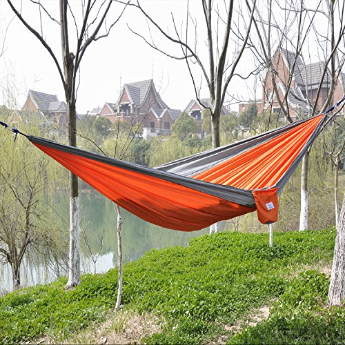 OuterEQ Portable Parachute Nylon Fabric Travel Camping Hammock For Double Two Person Grey/orange