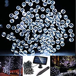 Solarmks DC-1200 Solar String Lights Outdoor 72ft 200 Led Solar Christmas Lights White