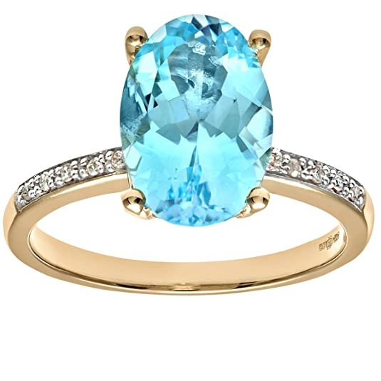 Naava Ladies 9ct Yellow Gold Diamond And Blue Topaz Ring