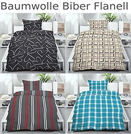 baumwolle biber flanell winter bettw sche 155x220 od. Black Bedroom Furniture Sets. Home Design Ideas