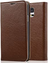 [Genuine Leather] [Samsung Galaxy S5 Wallet Case]- iXCC ® [Stand Feature] [Classic Vintage Elegant Look] Premium Ultra Slim with Stand Flip Cover , Protective Soft Geniune Leather [Book Style] Folio Wallet Case - for Samsung Galaxy S5 Late 2014 Model [Brown]