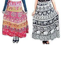 Set of 2 Long Skirt Wrap Around Printed Premium Cotton combo Rajasthani Bagru Printed Skirts