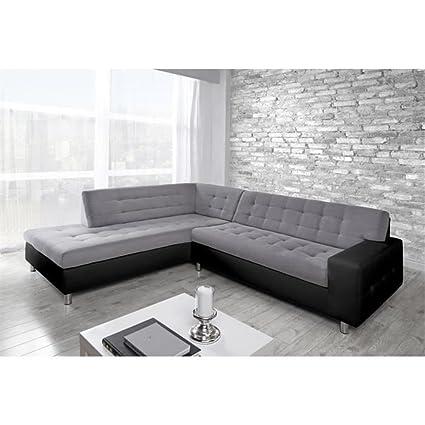 Canapé d'angle gauche Switsofa microfibre gris/PU Noir