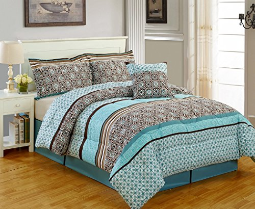 5-Piece Multi Color Medallion Printed Microfiber Comforter Set Queen Size
