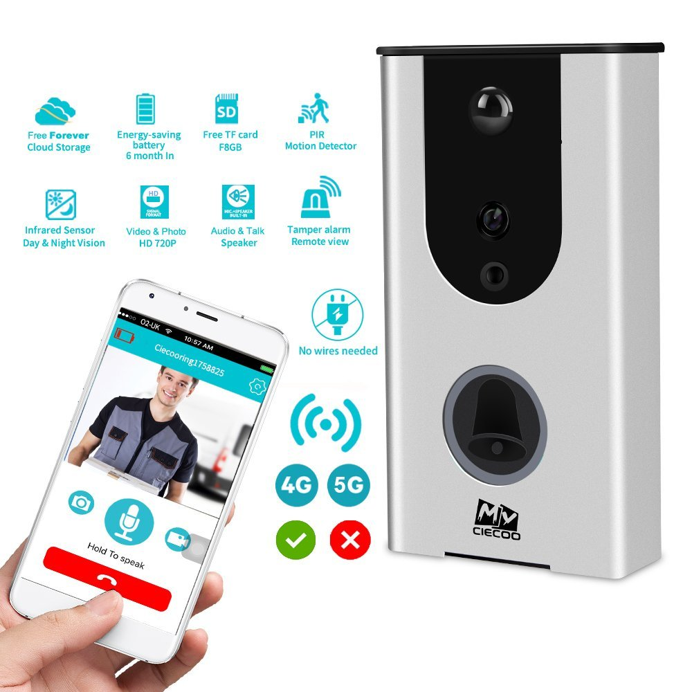 6 different ring tones WiFi Enabled free cloud Smart Wi-Fi Doorbell | Real-Time Video & Speaker| Wireless Internet & Smartphone Access | Built-In Motion Detector and Passive Alarm | Easy Installation
